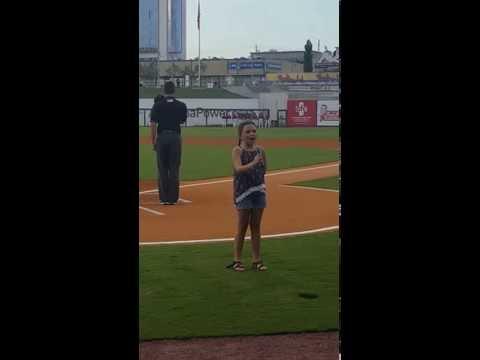 Ramsey Whitney singing National Anthem at the Birmingham Barons Baseball game.