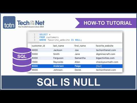 How To Use The SQL IS NULL Condition