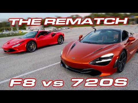 THE REMATCH * Ferrari F8 vs McLaren 720S 1/4 Mile DRAG RACE on Sticky Tires