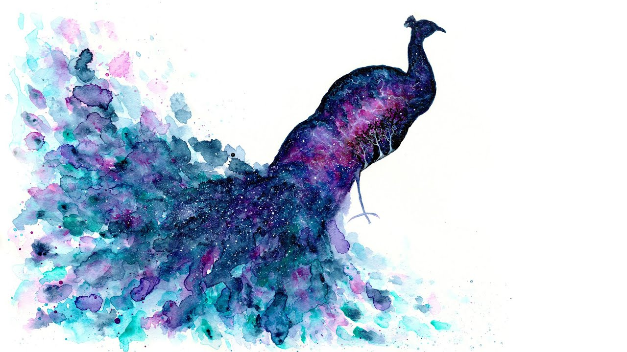 Cute Dolphin Drawing Wallpaper Galaxy Peacock Double Exposure Speed Painting