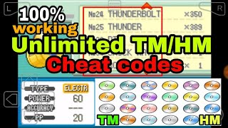 All TM/HM cheat codes proof working