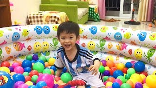 Baby troll mom so fun and jumping in ball pit at home