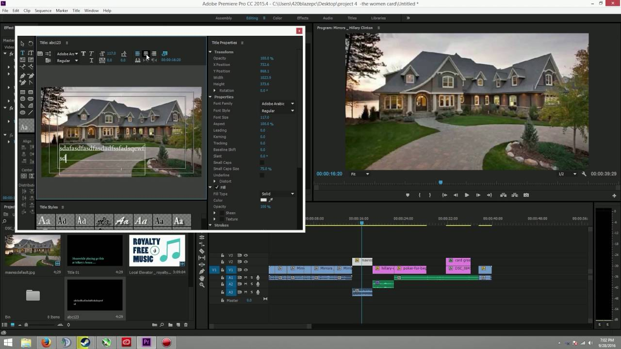how to change text in adobe premiere