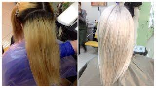 Окрашивание волос Блонд - из желтого в холодный // Hair coloring: Blond - from yellow to cold blond