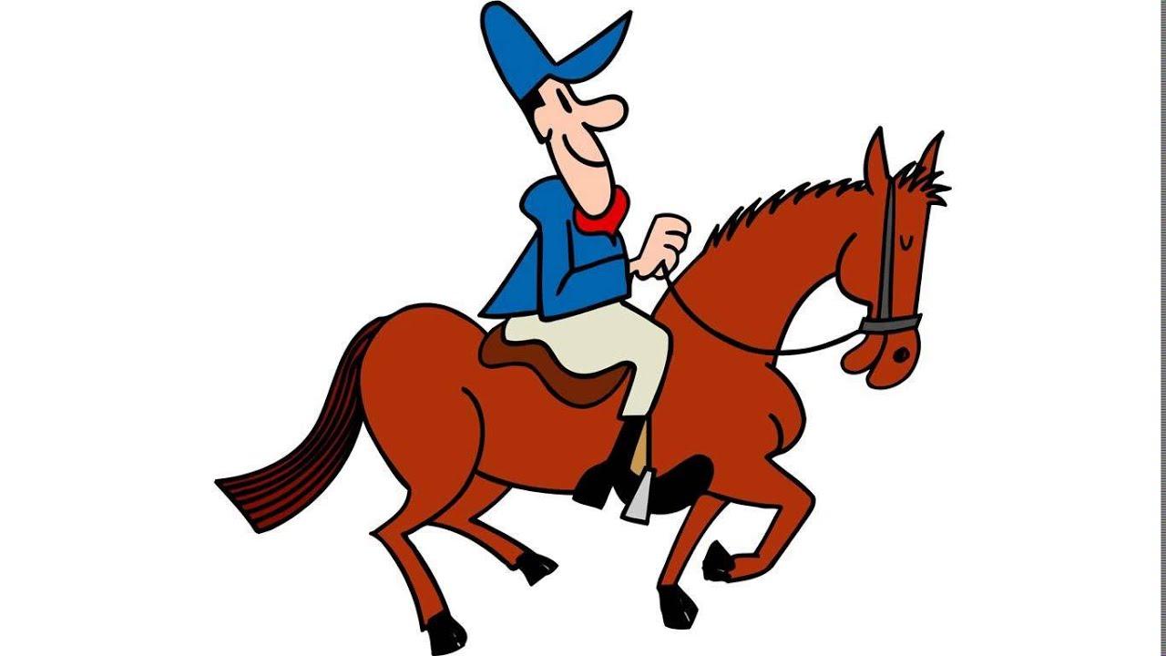 Horse Cartoon horse riding ca...