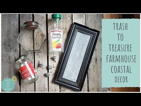 IDEAS FOR RECYCLED ITEMS INTO DIY HOME DECOR | TRAY FARMHOUSE COASTAL | TRASH TO TREASURE HOME DECOR