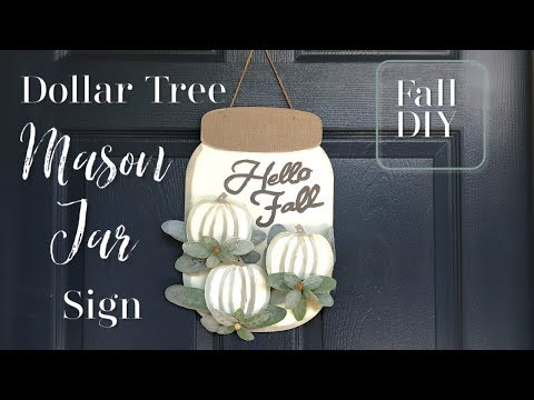 Fall Mason Jar Sign | Fall DIY | Dollar Tree Fall DIY