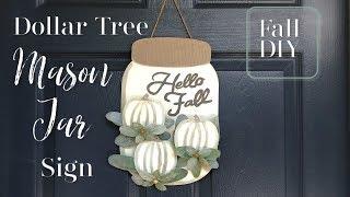 Fall Mason Jar Sign | Fall DIY | Dollar Tree Fall DIY