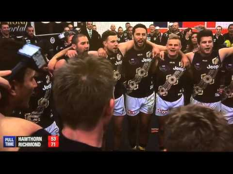 Richmond Tigers proudly song their club song after beating the Hawks
