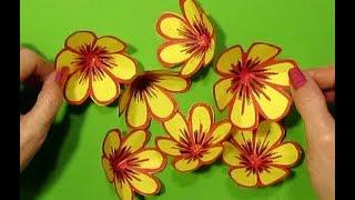 Бумажные цветы легко и очень быстро за 3 минуты своими руками из цветной бумаги.Что подарить?