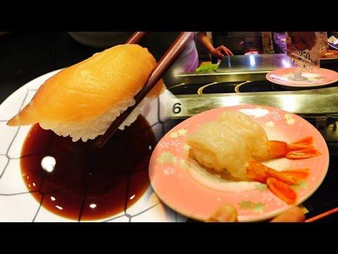 มาดูหน้าตาของซูชิ Go-round ย่านชิบูย่า ราคา105เยนกัน อวบอ้วนน่าทานมาก