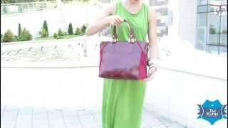 Видео обзор женской бордовой  кожаной повседневной сумки ETERNO