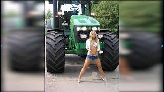 До СЛЁЗ !!! Это нужно видеть. Девушки на тракторе  ! Топ подборка приколов