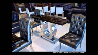 Modern Marble Dining Table - Tiger Eye - Tricase