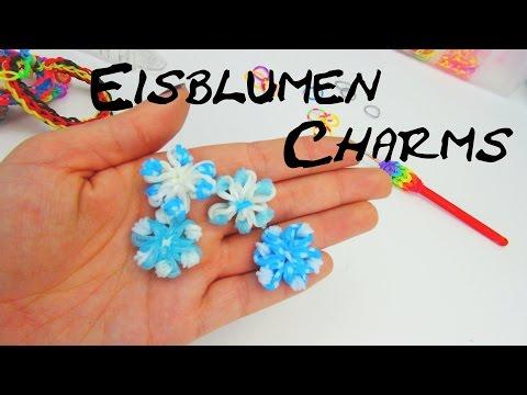 Rainbow Loom Eisblume Anhänger / Ice Flower Charm Loom Band With CROCHET Hook | Deutsch