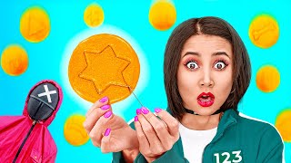 TRYING THE SQUID GĄME || Honeycomb Candy Challenge! How to Get Popular in Jail by 123 GO!