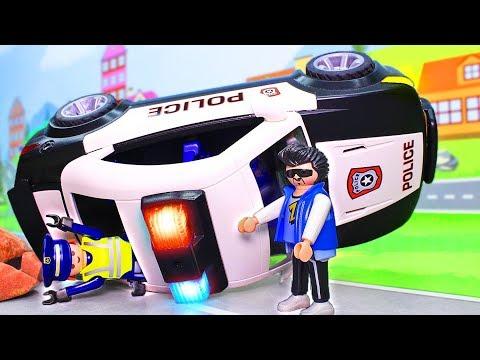 Мультики с игрушками для мальчиков про машинки. Спасение полицейских! Полицейская машинка ПЛЕЙМОБИЛ