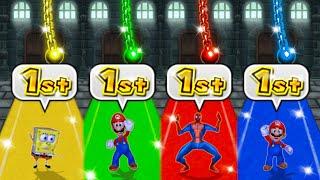 Mario Party 9 MiniGames - Luigi Vs Mario Vs Spider Man Vs SpongeBob (Master Difficulty)