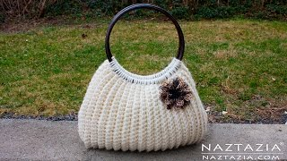 Repeat youtube video DIY Tutorial Easy Crochet Savvy Handbag Purse Tote - Croche Bolsa Borsa Bag