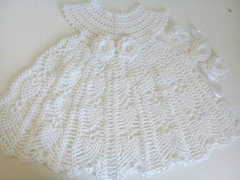 Vestido De Piñas A Crochet Para Bebe 0 A 3 Meses Youtube