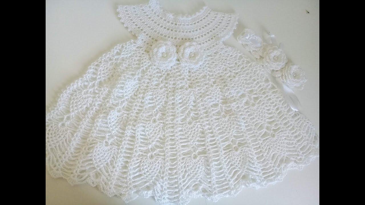 Vestido De Piñas A Crochet Para Bebe 0 A 3 Meses