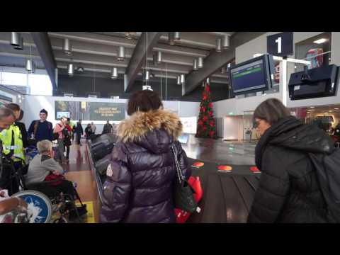 Sweden,  Stockholm, Arlanda airport Terminal 2, walk from airplane to bus stop
