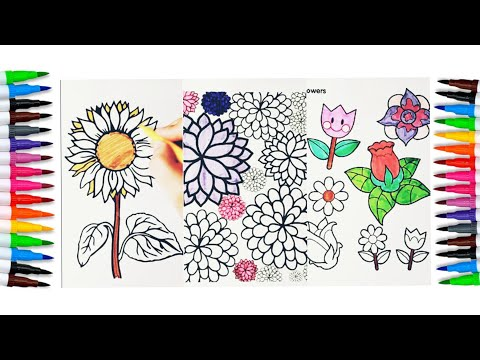amazing flower, coloring pages, beautiful flower, sunflower, florals, relaxing video satisfying