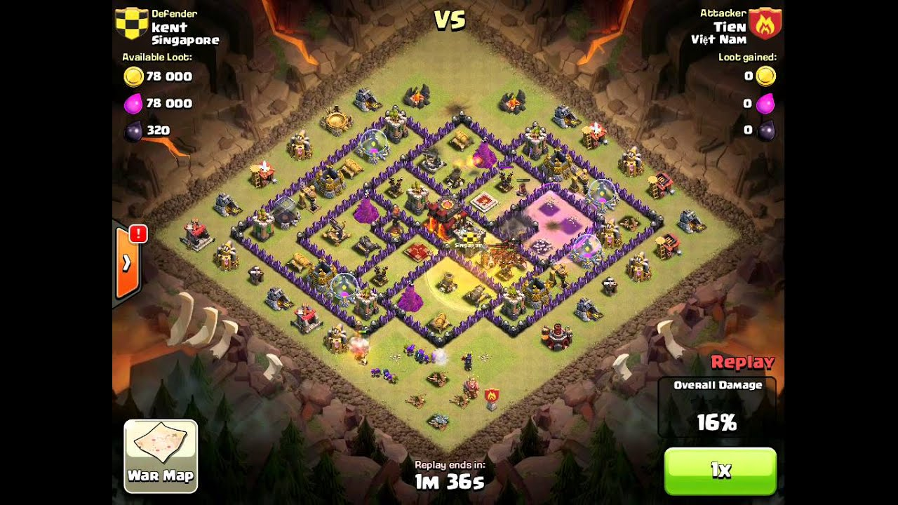 COC Clan Wars - Enemy Hog attack our th10 - YouTube