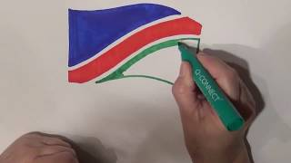Learn geography for kids How to draw a flag Namibia