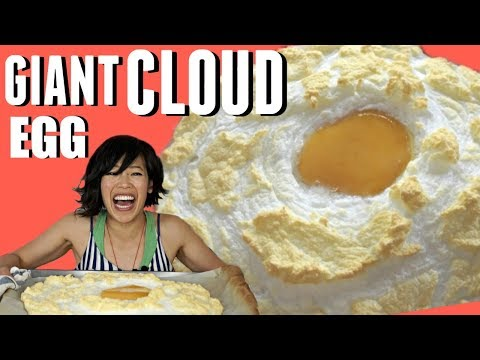 GIANT OSTRICH CLOUD EGG  - how to open & cook an ostrich egg