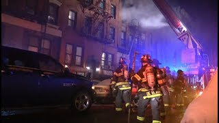TWO ALARM East Village Fire 3rd Street (1rst and 2nd Ave) FDNY Firefighters 12/15/17