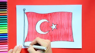 How to draw and color the National Flag of Turkey