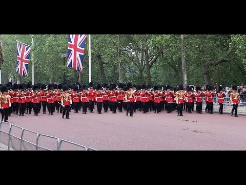 Guards march along The Mall: Trooping the Colour 2016