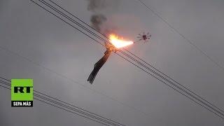 China pone a prueba un dron lanzallamas