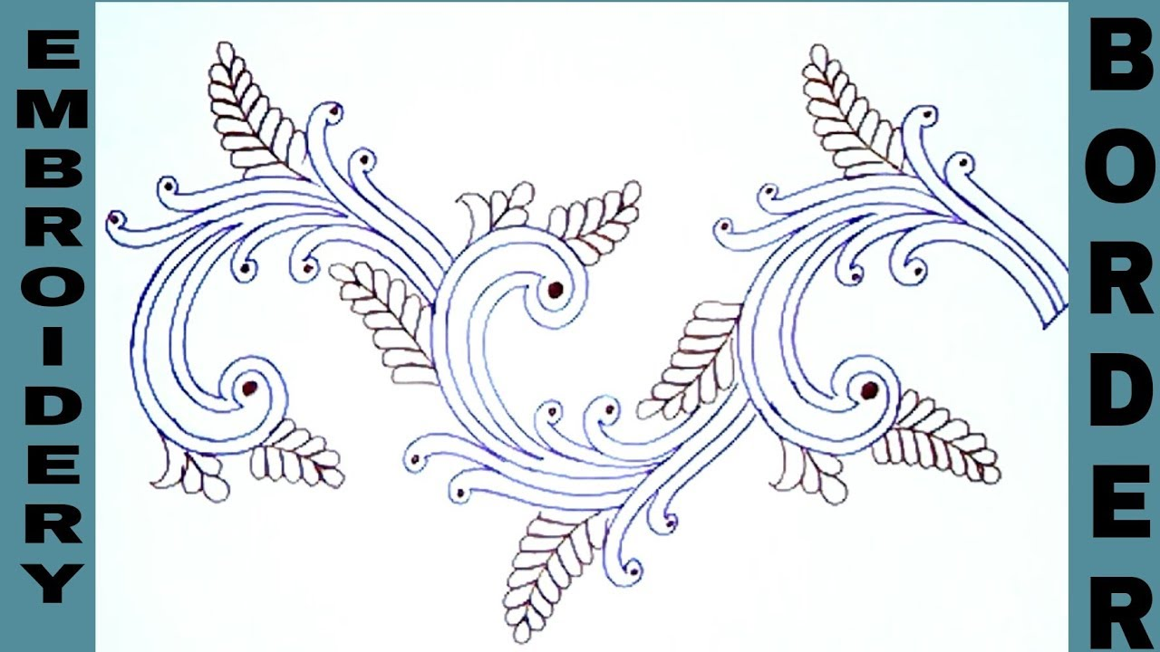 Machine embroidery designs, how to draw saree border