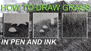 How to Draw Grąss Tutorial, in Ink Pen, three step by step drawing examples