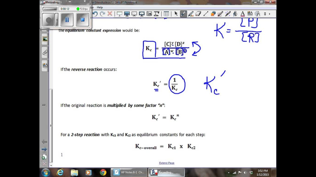 AP Video Notes 8 1 Chemical Equilibrium An Introduction