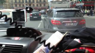 High speed Police car in Paris rush hour - inside view