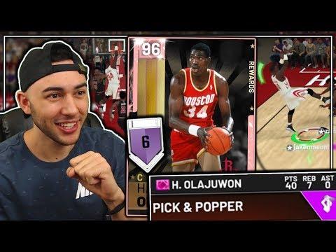 PINK DIAMOND HAKEEM OLAJUWON GAMEPLAY! HES UNSTOPPABLE! NBA 2K19 MyTeam thumbnail
