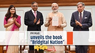 "PM Modi unveils the book ""Bridgital Nation"""