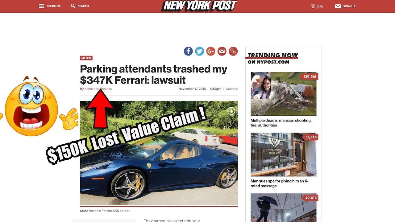 Ferrari Owner Files Monster Lawsuit After Nyc Parking Garage Damages