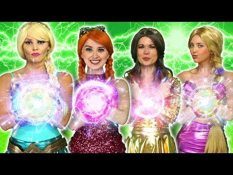 DISNEY PRINCESS MAGIC SUPERPOWERS. (Rapunzel, Elsa, Belle, Tiana, Anna vs Maleficent and Gaston)