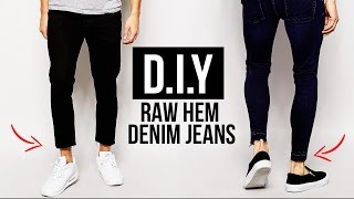 HOW TO: RAW HEM JEANS (CROPPED CUT JEANS) DIY TUTORIAL | JAIRWOO