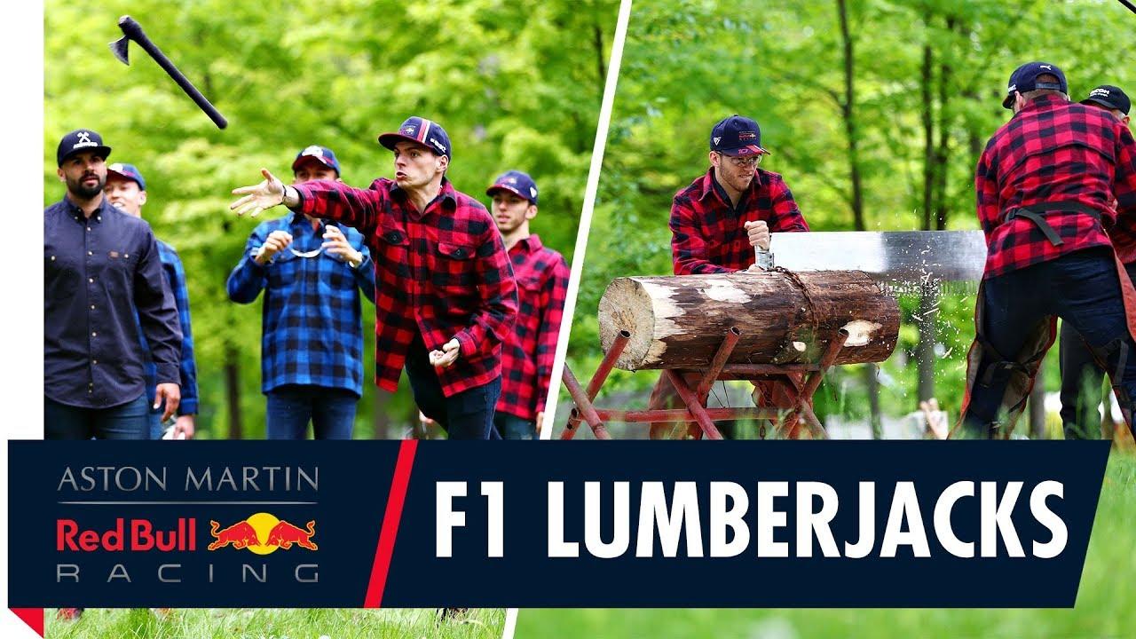 Formula 1 Lumberjacks   Max Pierre Daniil and Alex working the wood in Canada