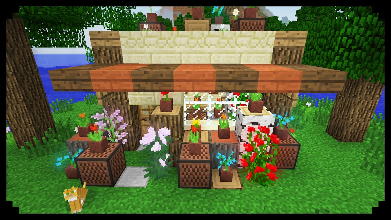 Minecraft How To Make A Flower Shop Youtube