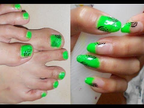 Nail art verde fluo / neon mani \u0026 piedi abbinata SEMPLICISSIMA + TAG i miei  smalti estate 2013