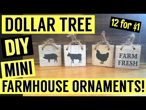 DIY Dollar Tree MINI-Farmhouse sign ornaments! Rustic Dollar Tree Decor