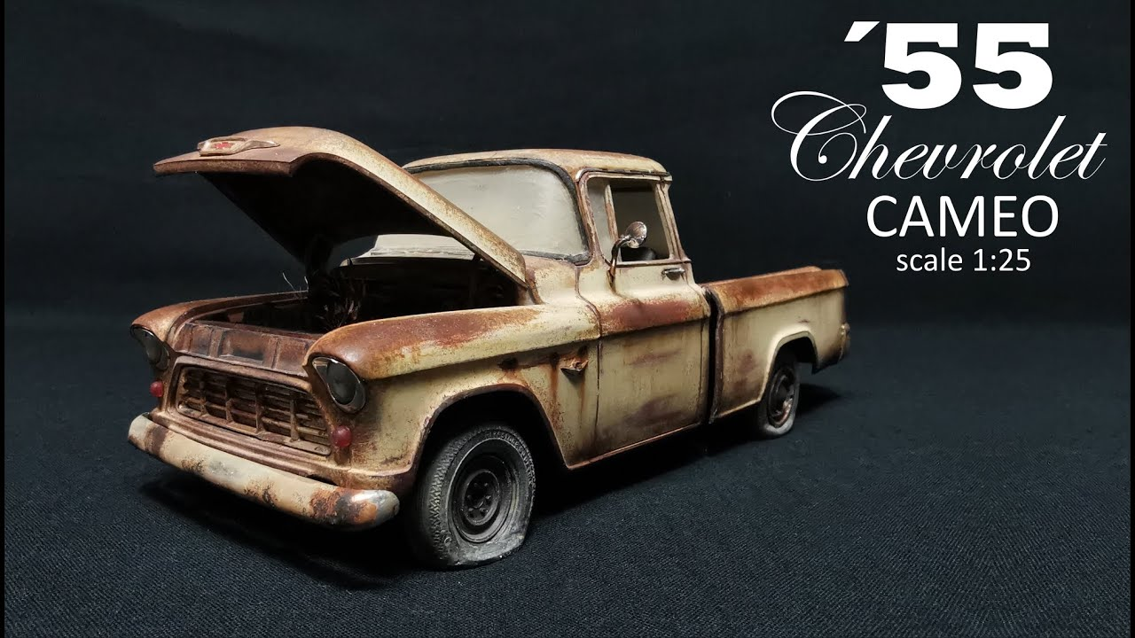 Rust effect Chevrolet Cameo 55 pickup scale 1:25 for my next diorama.