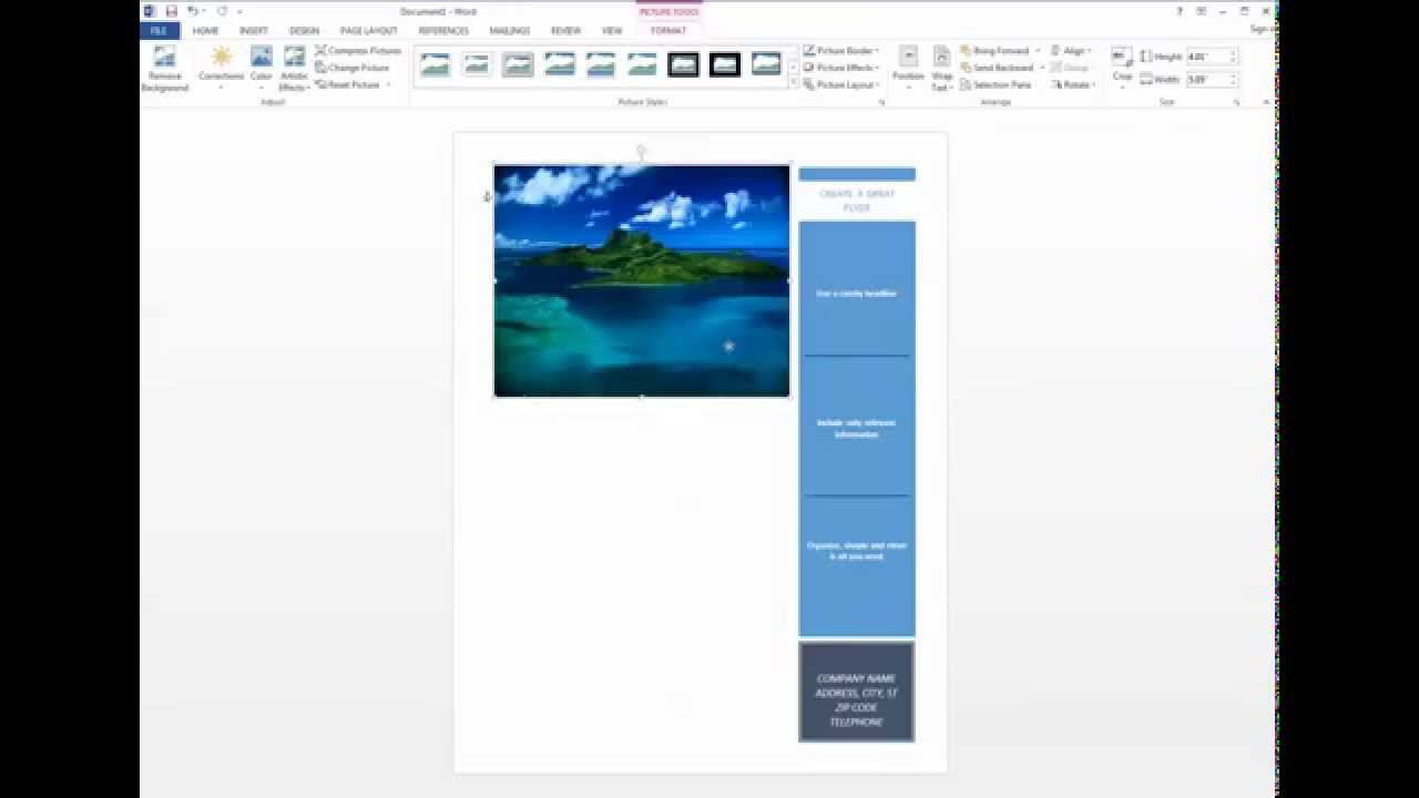 How to make a flyer using Microsoft Word 2013 - YouTube
