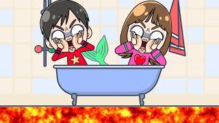 Floor is LAVA Mermaid helps マグマだー!! 人魚が助けてくれる??? おゆうぎ  mermaid floor is lava こうくんねみちゃんアニメ